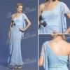 One-shoulder A-line Anke length ruffle natural waist Chiffon elie saab evening dress fashion dresses short sleeve 2012
