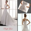 Shoulder Straps V-Neckline Hand-Made Flowers Satin Wedding Dress HT-0880