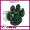 Dark green crystal paw ring