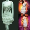 Newest single strap ruffle short white party dress