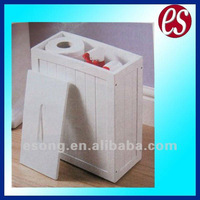 White wooden bathroom storage cabinet