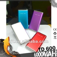 2012 AJT popular portable power bank with 6000mAhTD-600