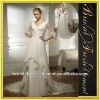 Hot Sale Spanish A-line V-neck Ruffled Beaded Double Layers chiffon wedding dress long sleeve