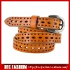 Genuine brushed leather woman belt,nice pattern punched skinny belt,SP30421