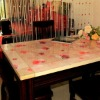 Popular smooth plastic pink table cloth with rose