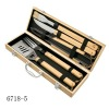 portable wooden case packing,5pcs BBQ tools set with oak wooden handle