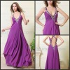 Cheap Purple Halter Chiffon Long Evening Party Dresses