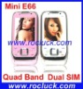 Mini E66 Mini Dual SIM Mobile Phone Quad Band with Single Sliding