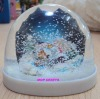 plastic snow globe, plastic snowball