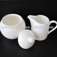 White bone china sugar & creamer pot