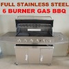 Full set stainless steel 6-burner gas restaurant grill
