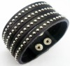 Real cowhide Split leather bracelet with metal studs