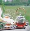 Glass teapot set with bamboo handle