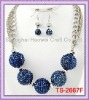 TS-2667F 2012 HOTTEST STYEL!!! Pave Ball Fashion Jewelry Set With Montana Blue AB Resin Pave Ball