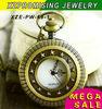 New arrival wholesale bronze cute pocket watch necklace