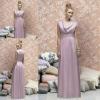 LR 165 New Style High Neck Sleeveless Foor Length Chiffon Bridesmaid Dress Light Purple