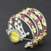 fashion elegant seed bead multistrand silver plated arc-shape quartz ladies bracelets watches