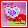 wedding gift! popular cake towel in beauty heart shaped gift box