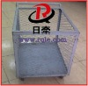 Logistics metal wire mesh roll box trolley