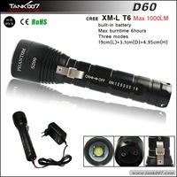 800lumens 200meters 3 mode diving rechargeable flashlght TANK007 D60