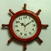 red wooden 38cm original wood clock in rudder shape