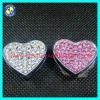 Alloy 18mm rhinestone heart slide charms