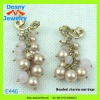 2012 young girls jewlery popular clip on multi pink cluster beads beaded charms earrings