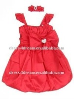Red bubble hem children party dresses girls party dresses