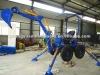self powered mini excavator, driving towable backhoe