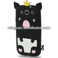 Fashionable cute 3d crown diaper silicone pig case for i9300