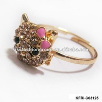 2012 new design metal rings fashion jewelry cute cat