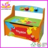 multifunction wooden toy box with qute printing