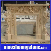 Fireplace stone carving