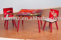 wooden children table with storage and chairs set