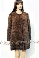 CX-G-A-140 Genunie Handknitted Mink Fur Coat - Black / Brown