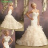 Mermaid Sweetheart Crystal Beaded Bodice Light Gold New Model 2012 Wedding Dress