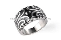 black emanel carved fashion 316L stainless steel ring MER656