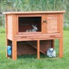 outdoor two level wooden rabbit hutch