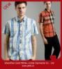 men classic color plaid short sleeve shirt