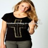 Studded cross dip hem tops and blouses ( 7544#)