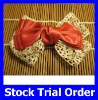 Fashion Trendy Red Ribbon with Lace Hair Clip