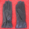 stylish elasticity brown deerskin ladies winter leather glove