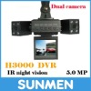 720P dual camera night vision H3000 car black box recorder DVR max to 32GB