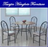 Wood Top Metal Dining Table and Chairs
