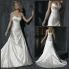 2013 Strapless Pleat Beaded Lace up A Line Satin Wedding Dresses