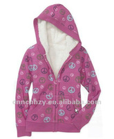 girls zipper sherpa lined fleece jacket