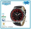 Geneva Platinum Mens Chronograph Style Genuine Leather Watch w/Red Dial steel back japan movt LH8214