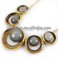 Vintage Hollowed Round Gray Acrylic Beads Gold Plated Necklace AS0012
