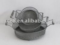 S/3 round metal basket