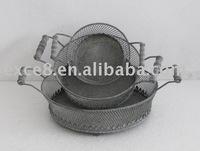S/3 round metal basket